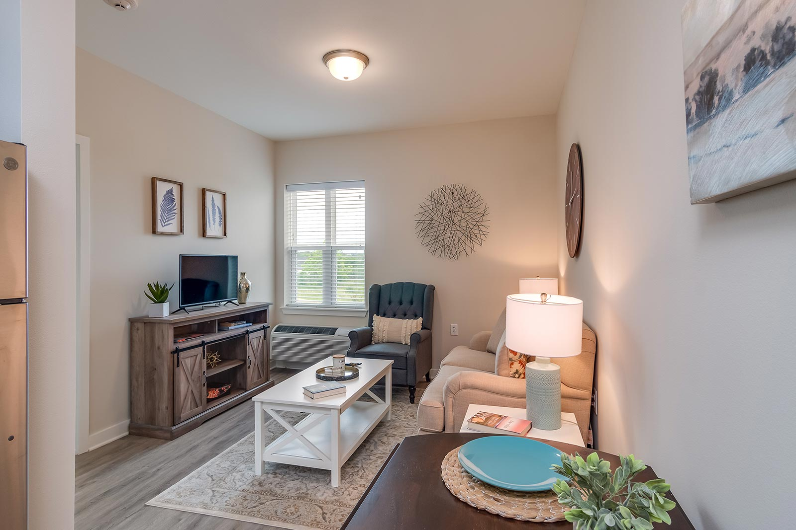 Spacious living room in our Plant City FL assisted living and memory care senior apartments